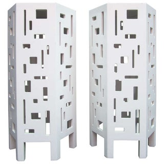 Lacquered Geometric Side Tables - Pair