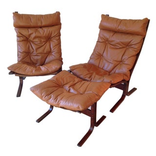 Mid-Century Modern Danish Leather Chairs & Ottoman