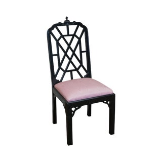 Chinese Chippendale Style Black Lacquer Side Chair