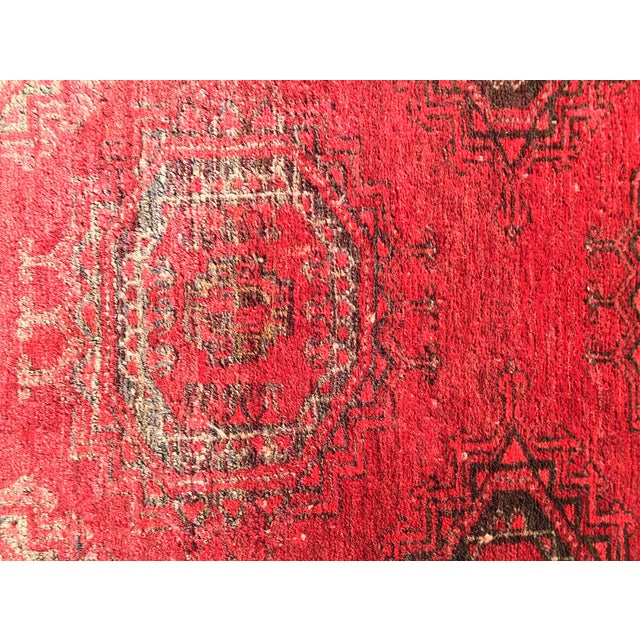 """Antique Turkaman Red Persian Rug - 1'10"""" x 2'10"""" - Image 5 of 7"""