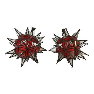 Glass & Metal Decor Orbs - A Pair