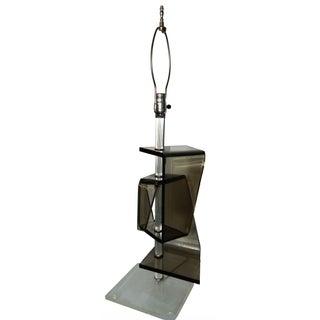 Grey Geometric Lucite Table Lamp