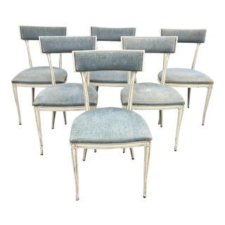 Neoclassical Hollywood Regency Klismos Style Metal Dining Chairs - Set of 6