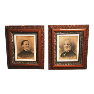 Victorian Husband & Wife Framed Pictures - A Pair