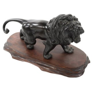 Japanese Meiji-Period Bronze Lion Sculpture