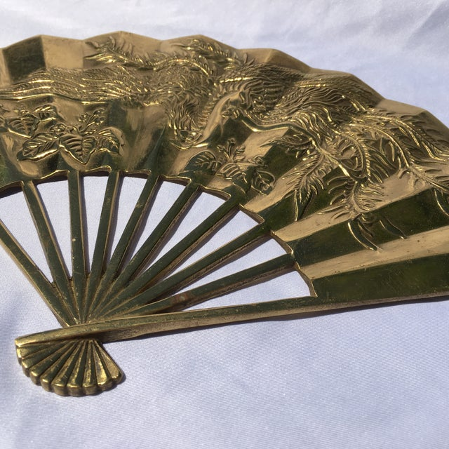 Vintage Brass Chinoiserie Wall Hanging Fan Art - Image 5 of 8