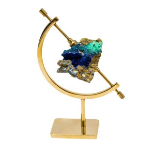 Azurite Specimen on Gold Plated Stand