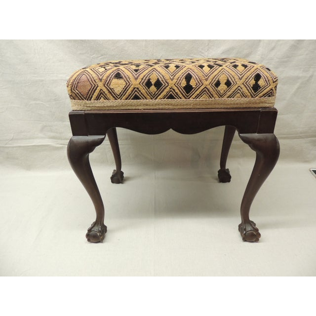 Antique African Textile Upholstered Bench - Image 2 of 5
