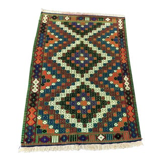 Handwoven Vintage Turkish Cicim Rug - 3' X 4'2''