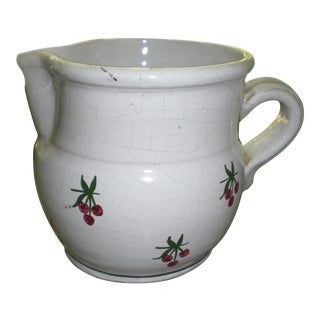French Country White Cherry Pitcher