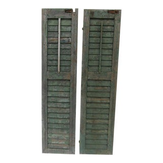 Distressed Louvered Vintage Shutters - A Pair