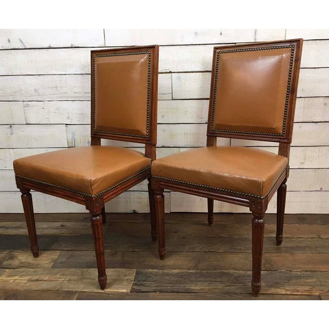 Antique Louis XVI Leather Upholstered French Country Chairs - A Pair - Image 11 of 11