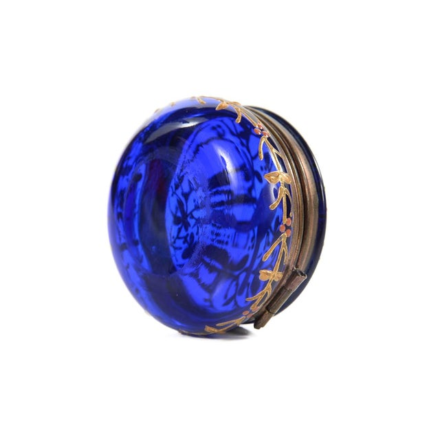 Cobalt Blue Glass Painted Antique Pill Box - Image 5 of 9