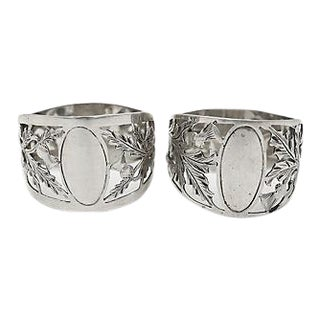 Walker & Hall Sterling Silver Napkin Rings - Pair