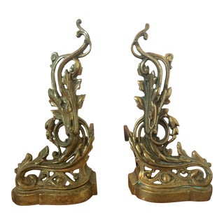Antique Brass Rococo Andirons - A Pair