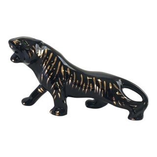 Mid-Century Modern Ceramic Panther With Gold Stripes