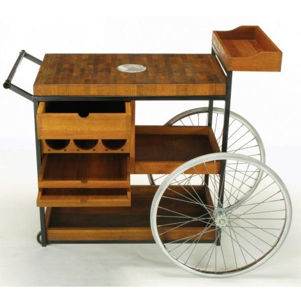 Bill W. Sanders Mid-Century Rolling Bar Cart - Image 3 of 10