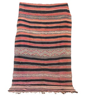 Red & Black Moroccan Kilim Rug - 5′6″ × 9′3″