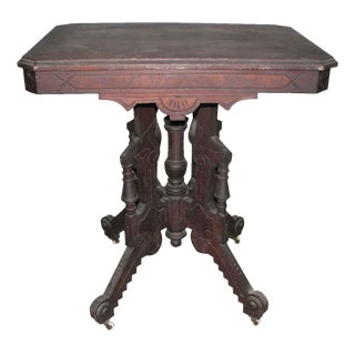 Carved Eastlake Design Walnut Cafe Table