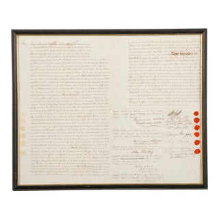 "A ""bond of indemnity"" indenture dated 1843 England visible on both sides."