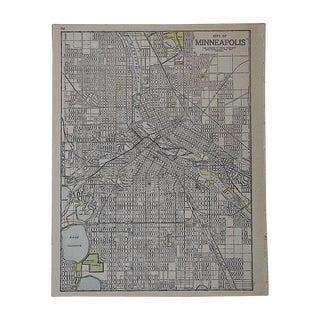 City Map Antique Lithograph - Minneapolis, MN