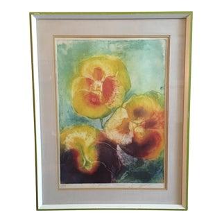 Vintage Signed Print of Three Flowers