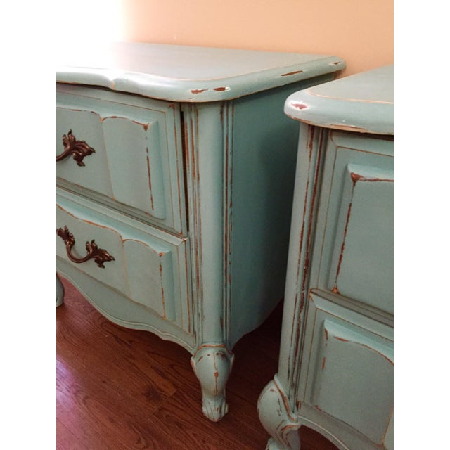 Image of Mint Blue French Provence Nightstands - A Pair