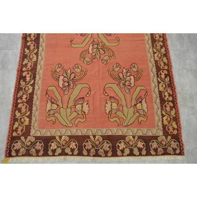 Vintage Turkish Hand Woven Floral Kilim Rug