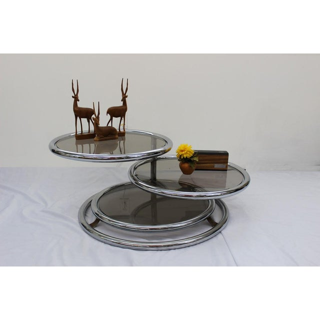 Mid Century Modern Artedis Chrome Tiered Coffee Table