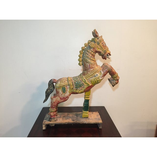 Indian Painted Wood Horse - Image 9 of 11