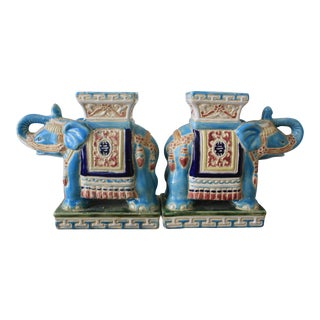 Turquoise Elephant Bookends - A Pair