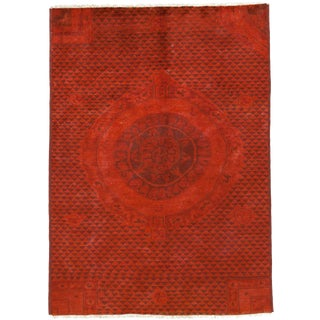 "Vibrance, Hand Knotted Moroccan Contemporary Red Wool Area Rug - 6' 1"" X 8' 5"""