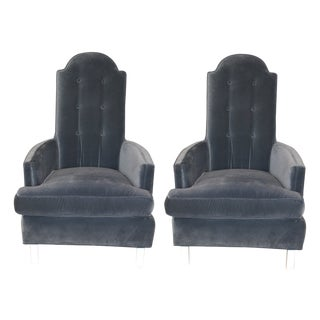 Blue Velvet Mid-Century Chairs - Pair