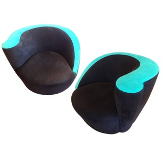 "Vladimir Kagan for Directional ""Nautilus"" Swivel Chairs - A Pair"