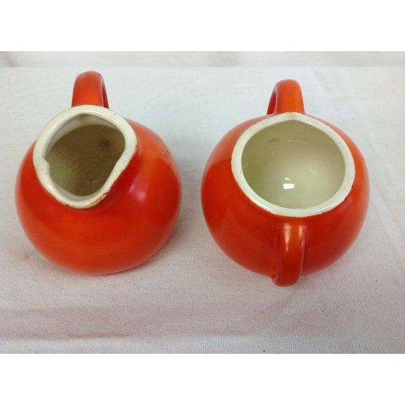 Vintage Fiesta-Style Orange Creamer & Sugar Bowl - Image 4 of 6