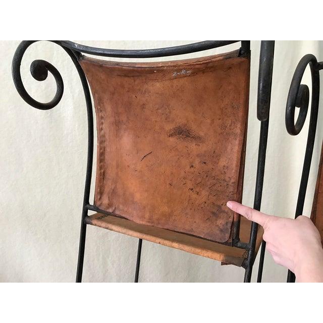 Scrolled Iron & Leather Bar Stools - Set of 3 - Image 10 of 11