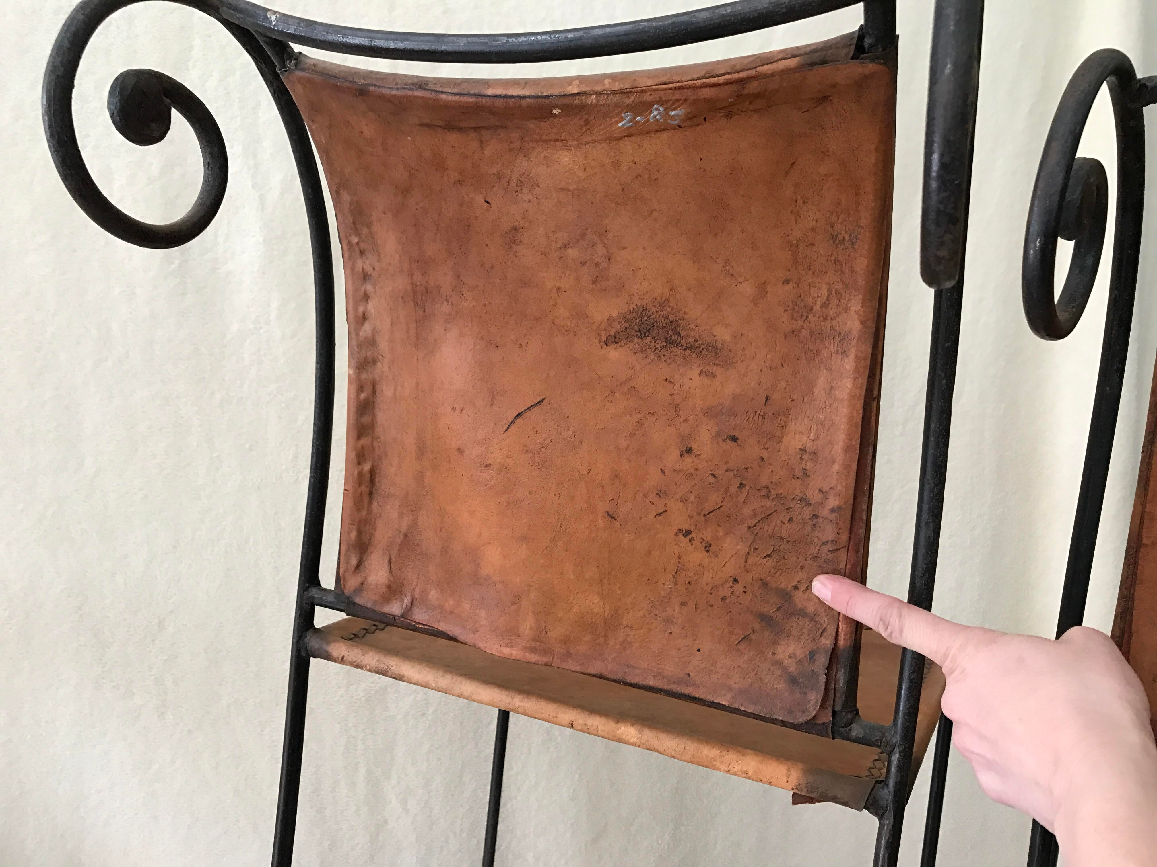 Scrolled Iron Amp Leather Bar Stools Set Of 3 Chairish