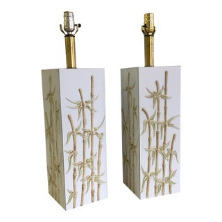 Mid-Century Faux Bamboo Square Column Lamps - A Pair