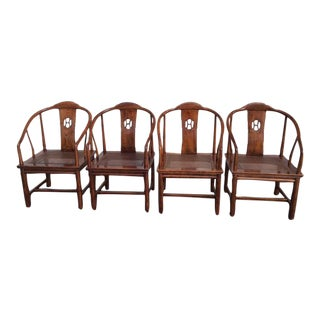 Henredon Asian Elm Caned Chairs - Set of 4