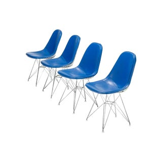 Blue Eames DKR-1s Dining Chairs - Set of 4