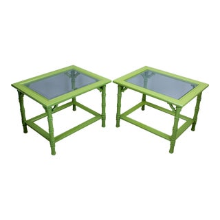 Green Lacquered Side Tables - A Pair