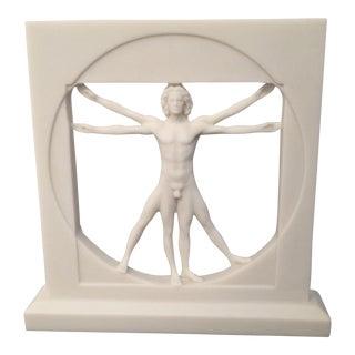 White Vitruvian Man Sculpture