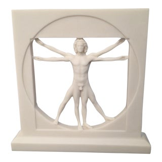 White Vitruvian Man Sculpture