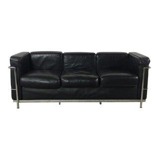 Le Corbusier Lc2 Style Black Leather & Chrome Sofa
