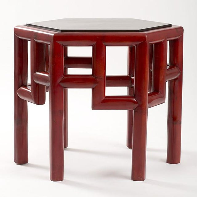 Red Bamboo Hex Side Table - Image 2 of 3