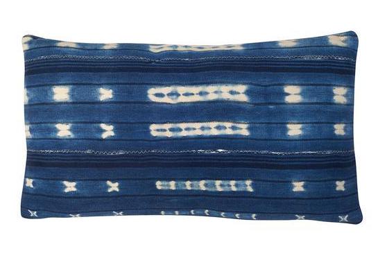 Faded Indigo Patterned Pillow Chairish