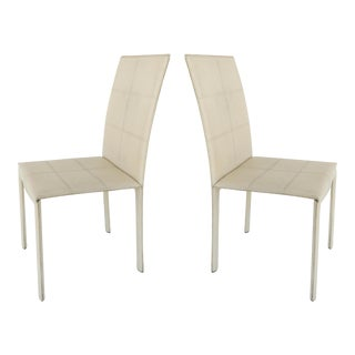Mid-Century Modern Leather Accent or Desk Chairs - A Pair