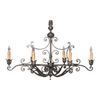 Long Mid-20th Century French 6-Light Iron Chandelier