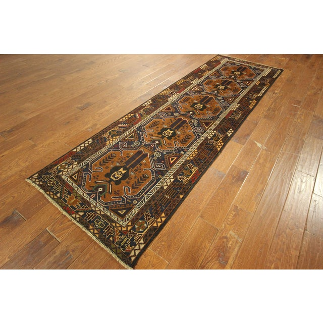 "Brown & Navy Balouch Runner Rug - 3' x 9'10"" - Image 3 of 9"
