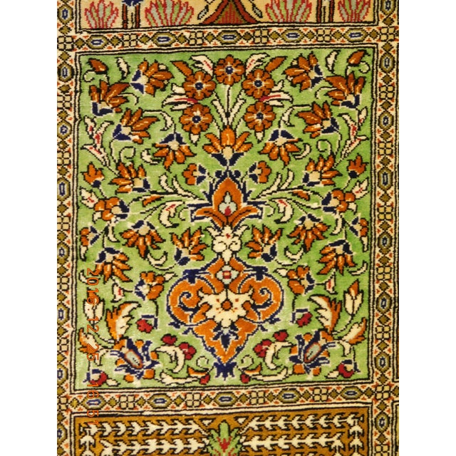"Hand Knotted Pure Silk Persian Qom Rug - 4'10"" x 4'10"" - Image 4 of 9"